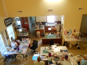 View of sewing area from the gallery upstairs.
