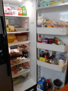 We couldn't get another item in the fridge on Thursday afternoon but by Sunday it was getting down fairly low!!